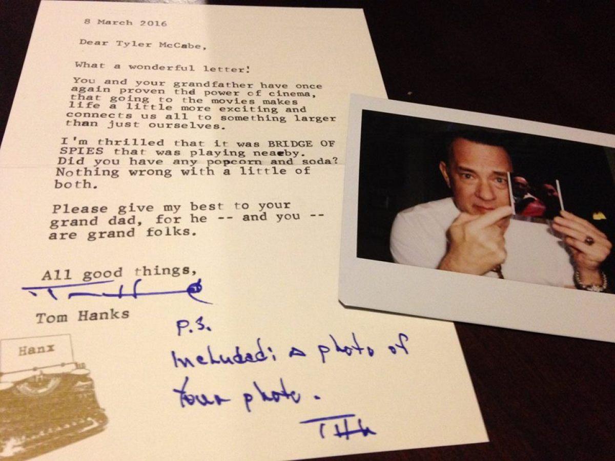 How to write to tom hanks
